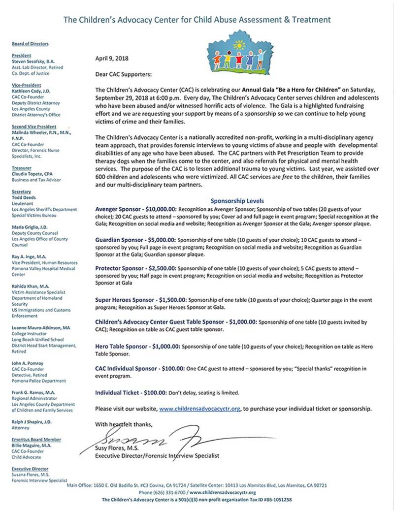 2018 Gala Sponsorship Letter